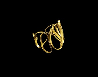 Art nouveau Cuff Bracelet, Sterling Silver, Gold or Rhodium plated, Handmade