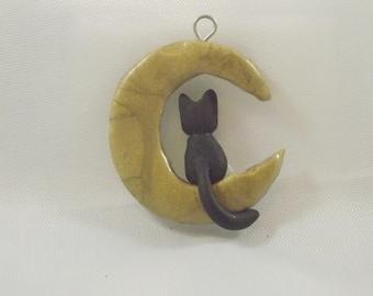 Kitty on the Moon Charm