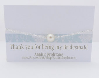 Thank You For Being My Bridesmaid - Bridesmaid Bracelet - Cream Pearl Bridesmaid Bracelet- Bridesmaid Gift