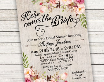 boho bridal shower invitations printable, floral bridal shower invites rustic bridal shower invitations printed or digital