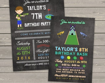 Mini golf laser tag birthday invitation boys, mini golf invitation, laser tag invitation, party invites digital