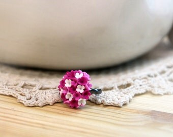 Polymer Clay ring, handmade Flowers jewelry, floral ring, flower ring, pink ring, polymer clay flowers