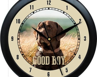 """Chocolate Labrador 10"""" Personalized Wall Clock Gift"""