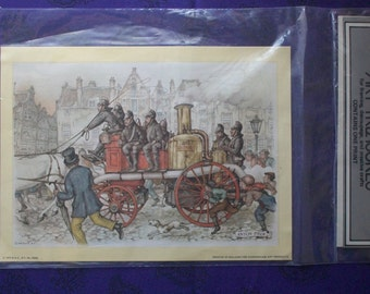 horse and fire wagon decoupage print