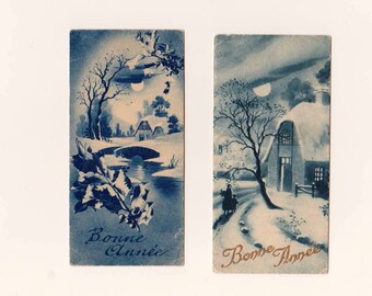 2 old small cards French for time wishes 1934