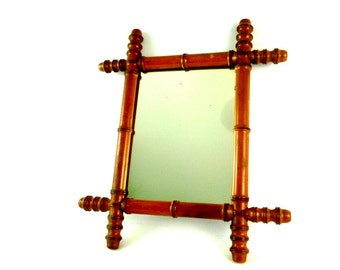 French Vintage Faux Bamboo Mirror / Vintage Wooden Mirror / French Farmhouse Decor / French Shabby Chic