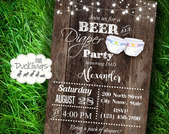 Beer & Diaper party invitation, Dad baby shower invite, beer and diaper baby shower, Printable Digital Invitation, A321