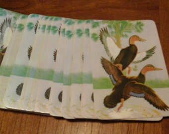 Ducks Playing Cards, Vintage Powell Deluxe All Plastic Playing Cards