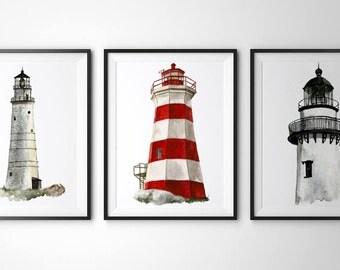 Lighthouse art -  Set of 3 art prints(8x10 ).Lighthouse poster.Lighthouse painting.Lighthouse wall art.Lighthouse artwork.bathroom decor.