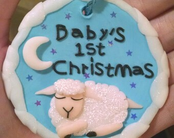 Baby's first Christmas Lamb Ornament