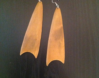 Brown wooden earrings