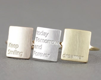personalized ring, message ring, quote ring, custome message plate ring