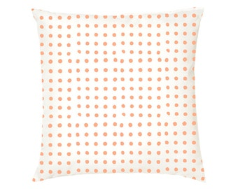 Dotted Cushion, Cotton, Hand Block Printed, Geometric, Modern, Cushion Cover, Pillow Cover, White, Pink, 12 x 12, 14 x 14, 16 x 16, 18 x 18