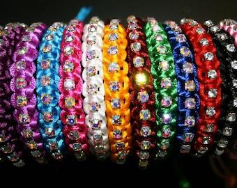 Rhinestone friendship bracelet mixed colours handmade