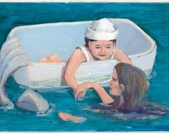 Mermaid Mom and Child in floating tub at Sea Original Artwork