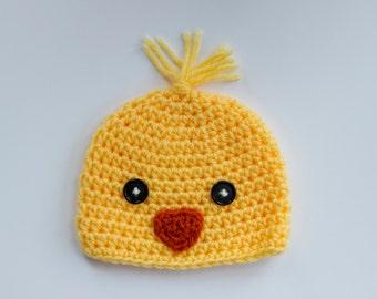 Ducky Hat, 0-3 Month Hat, Baby Beanie, Crochet Hat, Newborn Hat, Photo Prop
