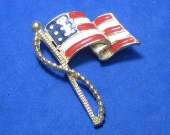 Antique Vintage Costume Brooch US flag