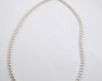 """Ladies 20"""" Inch Faux Pearl Vintage Beaded Necklace .925 Sterling Silver"""