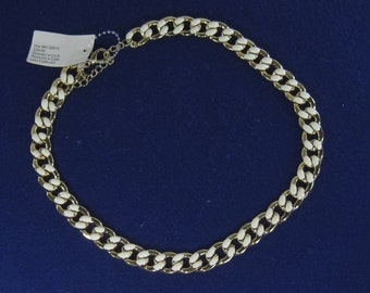 """Vintage Costume White Enameled Chain Necklace 20"""""""