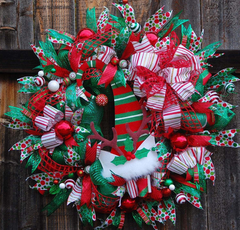 Christmas wreath front door elf christmas wreath deco for Front door xmas wreaths