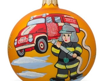 "4"" Fire truck and Fireman Glass Ball Christmas Ornament"