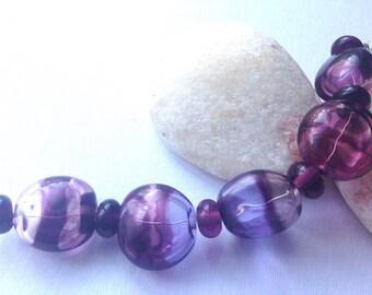 Purples Flattened Hollow Lampwork Bead Set x 5 SRA