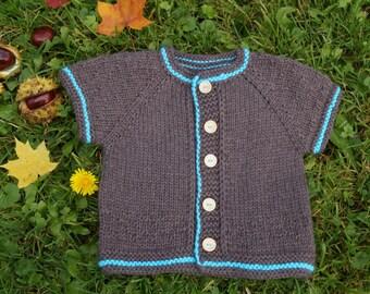 Knitted vest. Knit Baby Vest. Hand Knit Baby Boy Vest. Knitted Toddler Vest. Merino Wool Vest. Brown vest.