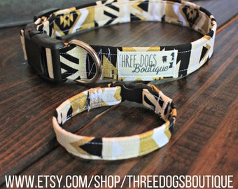 "Canvas dog collar with optional bff  bracelet""Black and Gold Native"" FREE SHIPPING **Please leave EXACT tight wrist measurement**"