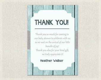 Baby Shower Thank You Card Blue Gray Grey Wood Rustic Thank You Note Neutral Boy Thank You Card printable DIY Baby Shower BS-45