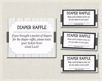 DIAPER RAFFLE tickets Rustic White Wood | Baby Shower Raffle Tickets | Black and White Baby Shower Inserts Gender Neutral Baby Shower BS-57