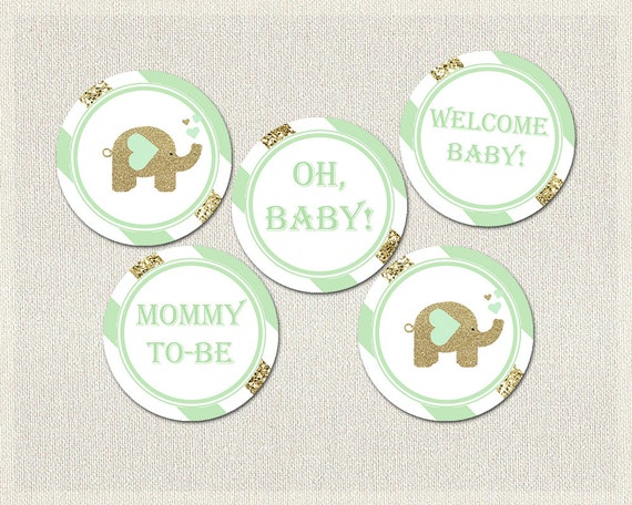elephant cupcake toppers mint green gold baby shower printable