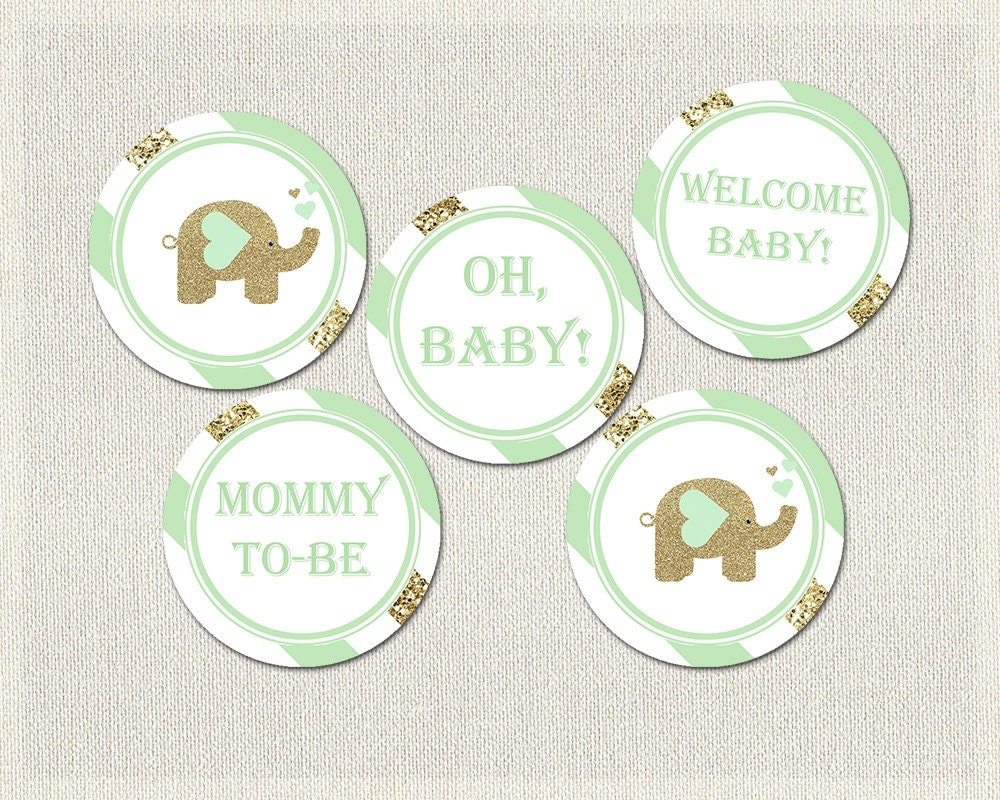 Baby Shower Cupcake Ideas Neutral : Elephant Cupcake Toppers Mint Green Gold Baby Shower