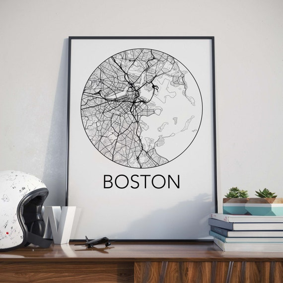 Boston, Massachusetts Minimalist City Map Print