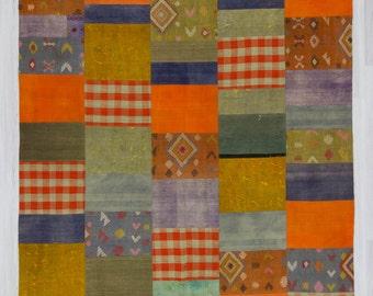 "7'8""x10'3"" (234x313cm) Vintage colorful Turkish kilim patchwork,FREE SHIPPING"
