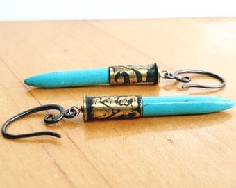 Turquoise Etched .22 Earrings
