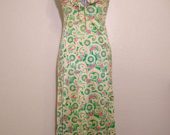 Vintage multi colored paisley floral long halter top dress small