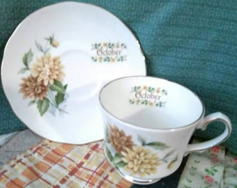 Vintage October Tea Cup and Saucer set