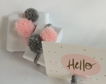 Pack of pom poms/gift wrapping/ hair clips/pink and gray