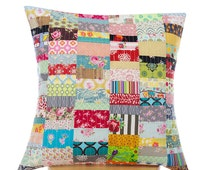 Quilted pillow cover 50cm x 50cm - Handmade patchwork