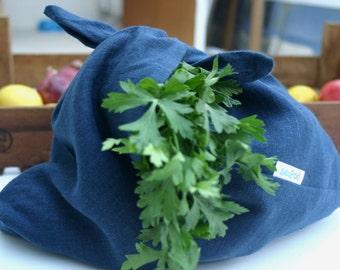 Indigo blue linen bag, Azuma Bag, shopper, market bag