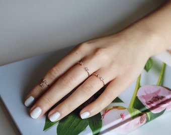 Parallel Crystal Ring, Minimalist ring, Baguette ring, stackable ring, adjustable ring, thin gold ring, stacking ring, dainty ring.
