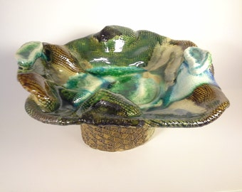 Sculptured Abstract Ceramic Bowl