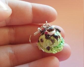 Scoop of mint chocolate icecream polymer clay earrings