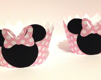 Minnie Mouse Cupcake Wrappers - 12 - Minnie Mouse Party Decorations -Light Pink Polka Dot - Minnie Mouse Baby Shower - Minnie Mouse Birthday
