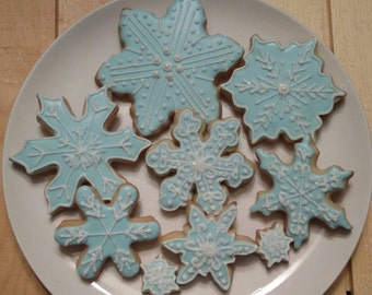 Winter Blue Sparkling Snowflakes - One Dozen Large (minis are included for fun!)
