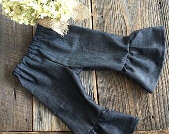 Christmas in July Sale Baby Girl Ruffle Pants - Denim Ruffle Pants