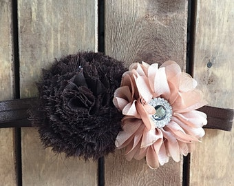 Brown and dusty rose headband