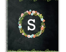 Personalized Floral Monogram Notebook. Cool Kids Notebook, but also a great Adult Notebook. Our Custom Notebooks make a great Birthday Gift.