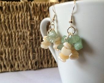 Green & Ivory Earrings