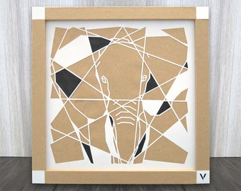Elephant, big five, crop, geometric, decoration, crafts, animals, abstract, shapes, layers, design, style, cutting, gift, paper cut art